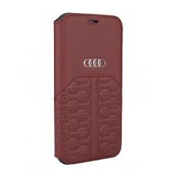 Audi iPhone 12 Pro Max Ledertasche Book Case A6 Serie Echtes Leder Rot