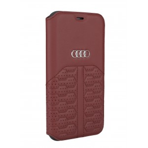 Audi iPhone 12 Mini Ledertasche Book Case A6 Serie Echtes Leder Rot