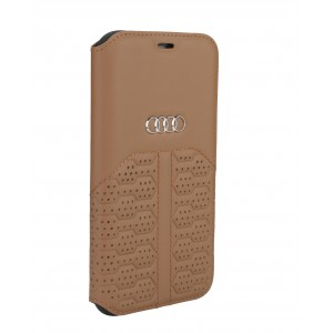 Audi iPhone 12 Mini Ledertasche Book Case A6 Serie Echtes Leder Braun