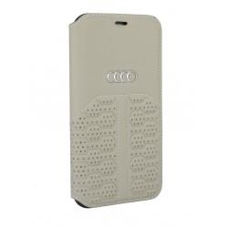 Audi iPhone 12 / 12 Pro Ledertasche Book Case A6 Serie Echtes Leder Beige