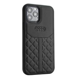 Audi iPhone 12 Mini Lederhülle / Cover Q8 Serie Echtes Leder Schwarz