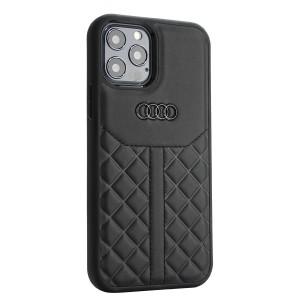 Audi iPhone 12 / 12 Pro Lederhülle / Cover Q8 Serie Echtes Leder Schwarz