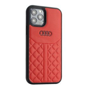 Audi iPhone 12 Pro Max Lederhülle / Cover Q8 Serie Echtes Leder Rot