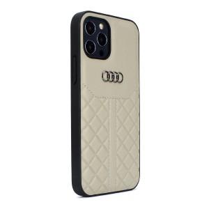 Audi iPhone 12 / 12 Pro Lederhülle / Cover Q8 Serie Echtes Leder Beige