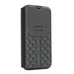 Audi iPhone 12 Pro Max Ledertasche Book Case Q8 Serie Echtes Leder Schwarz