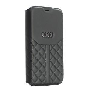 Audi iPhone 12 / 12 Pro Ledertasche Book Case Q8 Serie Echtes Leder Schwarz