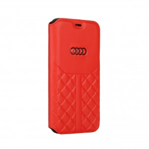 Audi iPhone 12 Mini Ledertasche Book Case Q8 Serie Echtes Leder Rot
