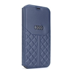 Audi iPhone 12 Mini Ledertasche Book Case Q8 Serie Echtes Leder Blau