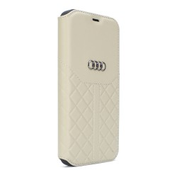 Audi iPhone 12 Mini Ledertasche Book Case Q8 Serie Echtes Leder Beige