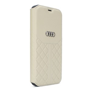 Audi iPhone 12 Mini Ledertasche Book Case Q8 Serie Echtes Leder Beige