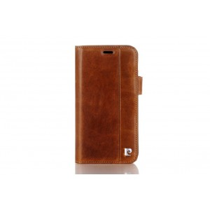 Pierre Cardin Vintage Book Case echtleder Tasche iPhone XR Braun