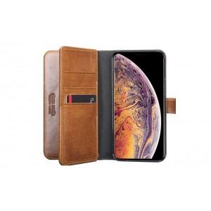 Pierre Cardin Deluxe Book Case echtleder Tasche für iPhone XS Max Braun