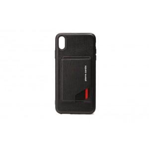 Pierre Cardin Card Case / Hülle für iPhone XR Schwarz Echtleder