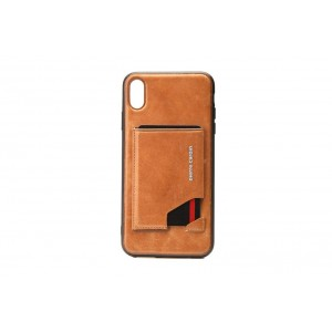 Pierre Cardin Card Case / Hülle für iPhone XR Braun Echtleder