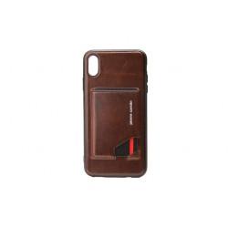 Pierre Cardin Card Case / Hülle für iPhone Xs Max Dunkel Braun Echtleder