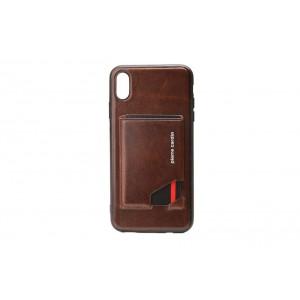 Pierre Cardin Card Case / Hülle für iPhone XR Dunkel Braun Echtleder