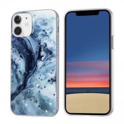 iPhone 12 Mini Case Hülle Cover Gradient Glitter Print Mix blau