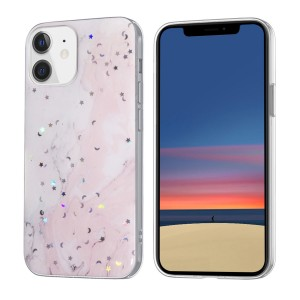 iPhone 12 Mini Case Hülle Cover Gradient Glitter Print Mix Rosa