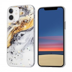 iPhone 12 Mini Case Hülle Cover Gradient Glitter Print Mix Gold