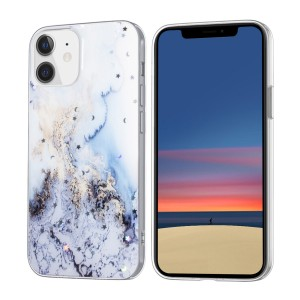 iPhone 12 Mini Case Hülle Cover Gradient Glitter Print Hellblau