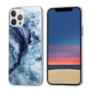 iPhone 12 / 12 Pro Case Hülle Cover Gradient Glitter Print Mix blau