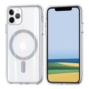 iPhone 11 Pro MagSafe Case Hülle Cover Transparent / Ring Silber