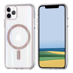 iPhone 11 Pro Max MagSafe Case Hülle Cover Transparent / Ring Rose Gold