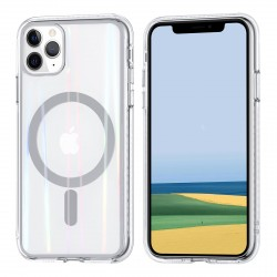 iPhone 11 Pro Max MagSafe Case Hülle Cover Transparent / Ring Silber