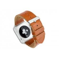 dbramante1928 Lederarmband Apple Watch 42 / 44mm dunkel sattelbraun / silber
