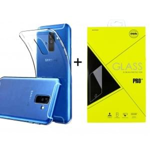 Samsung A6 2018 Ultra Slim Hülle Transparent + Panzerglas Pro+