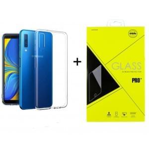 Samsung A7 2018 Ultra Slim Hülle Transparent + Panzerglas Pro+