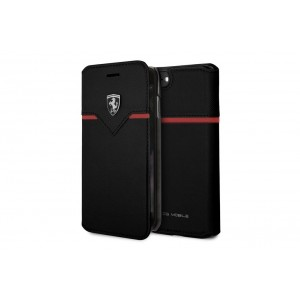 Ferrari Cross Ledertasche / Book Case für iPhone 8 / 7 schwarz