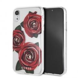 Guess Flower Desire Rose Cover / Hülle für iPhone XR Transparent