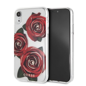 Guess Flower Desire Rose Cover / Hülle für iPhone XR Transparent