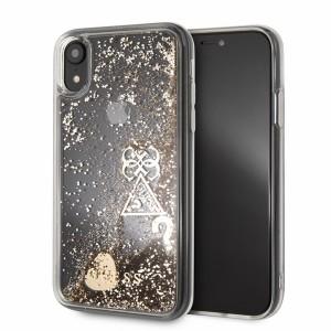 Guess Glitter Hearts Hard Case / Hülle für iPhone XR Transparent / Gold