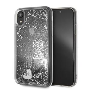 Guess Glitter Hearts Hard Case / Hülle für iPhone XR Transparent / Silber