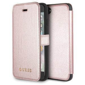 Guess Iridescent Tasche / Booktype Hülle mit Cardslots iPhone 8 / 7 Rose Gold