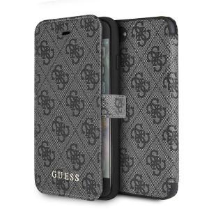 Guess 4G Tasche / Booktype Hülle Cardslots iPhone 8 Plus / 7 Plus Grau