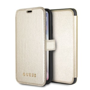 Guess Iridescent Tasche / Book Cover mit Cardslots iPhone XS / X Gold