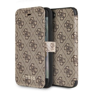 Guess 4G Tasche / Booktype Hülle Cardslots iPhone 8 Plus / 7 Plus Braun