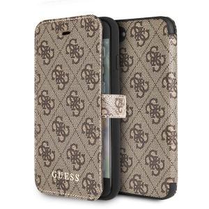 Guess 4G Tasche / Booktype Hülle für iPhone 8 / 7 Braun