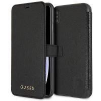 Guess Iridescent Tasche / Book Cover Cardslots für iPhone XS Max Schwarz