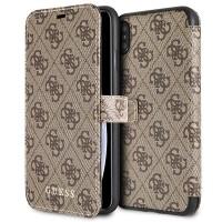 Guess 4G Cardslots Tasche / Booktype Hülle für iPhone XS Max Braun
