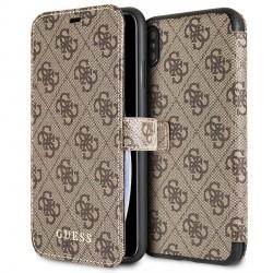 Guess 4G Tasche / Booktype Hülle für iPhone XS Max Braun