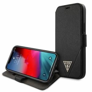GUESS iPhone 12 Pro Max 6,7 Handytasche Saffiano Schwarz GUFLBKP12LVSATMLBK