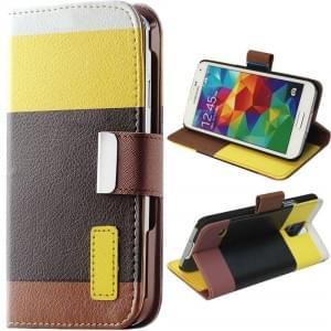 Braun Ledertasche PU Leder Protection meets Fashion! für Samsung Galaxy S5 mit Kreditkartenfächer