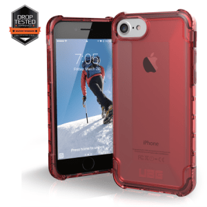 Urban Armor Gear Plyo Case I Apple iPhone 8 / 7 I Crimson rot transparent