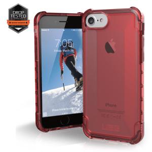 Urban Armor Gear Plyo Case I Apple iPhone 8 / 7 I Crimson rot transparent