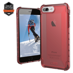 Urban Armor Gear Plyo Case I Apple iPhone 8 Plus / 7 Plus I Crimson rot transparent