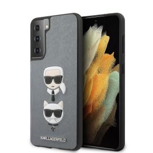 Karl Lagerfeld Samsung S21+ Plus Hülle Saffiano Karl & Choupette Silber